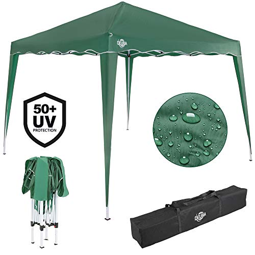 Deuba 3x3 Pop Up Gazebo Capri Canopy Shelter Party Tent Marquee Wedding Outdoor Free Carry Bag Pegs Ropes Colour Choice (Green)