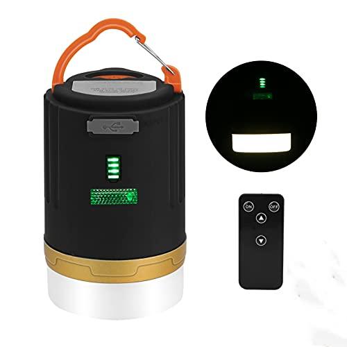 Wikay Linterna de camping, 2 en 1 recargable LED lámpara de camping 4800 mAh banco de energía con 3 modos de iluminación, IPX6 luz de campamento al aire libre para camping, senderismo