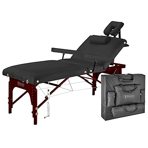 """Master Massage 31"""" Montclair Heated Massage Table Portable Professional, Memory Foam Folding SPA Salon Therapist Bed with Backrest and Carrying Case, Built-in Heating Pad, Height Adjustable, Black"""