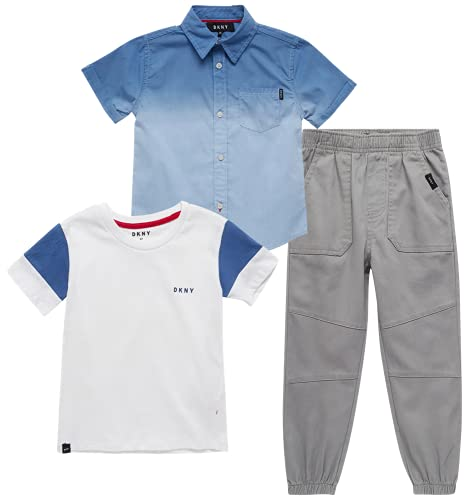 DKNY Baby Boys' Jogger Set - 3-Piece Short Sleeve T-Shirt, Button Down Shirt, and Joggers (Infant/Toddler), Size 12 Months, Heather Grey/Blue/White