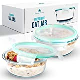 Overnight Oats Container Jar (2-Piece Set) - 18.5 oz Glass Containers with Lids | Meal Prep...
