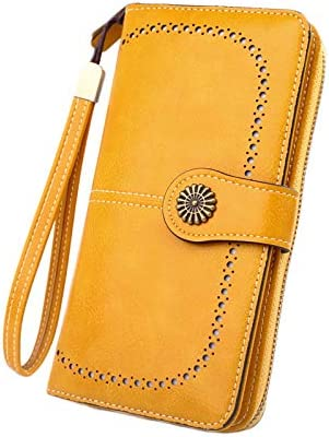 Andongnywell Women's RFID Blocking Large Capacity Leather Clutch Zip Around Wristlet Wallet Travel Purse (Yellow)