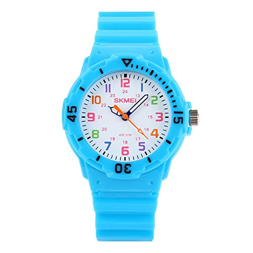 TONSHEN Kinder Uhr 50M Wasserdicht Analogue Quarzuhr Rotierenden Zifferblatt Blau Plastik mit Kautschuk Band Armbanduhr Cartoon Uhren für Junge Mädchen (Hellblau)
