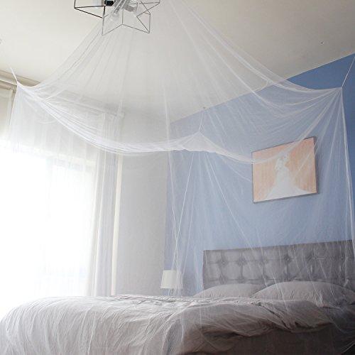 Sekey 220x200x200 cm Mosquitera para cama doble con Kit de colocación, Cortina, Protección repelente contra Insectos, malla antinsectos con rápida y fácil instalación, Blanco