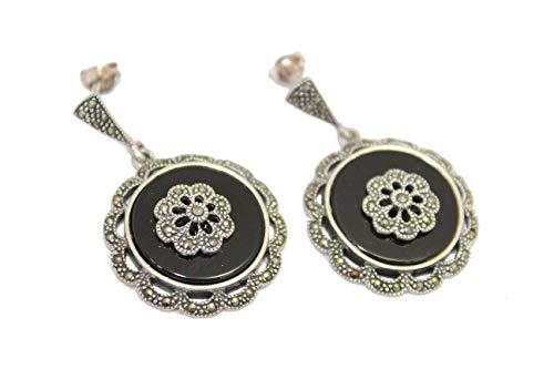 PH - Pendientes hechos a mano para mujer, plata de ley 925, ónix negro, piedras de marcasita E