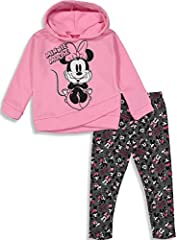 Cozy fleece hoodie Adorable Minnie Mouse screen print design with silver glitter contour Cool all-over print of Minnie and Mickey Mouse on leggings; elastic waist for a better fit Perfect for birthday gift or every-day wear Machine wash cold; officia...
