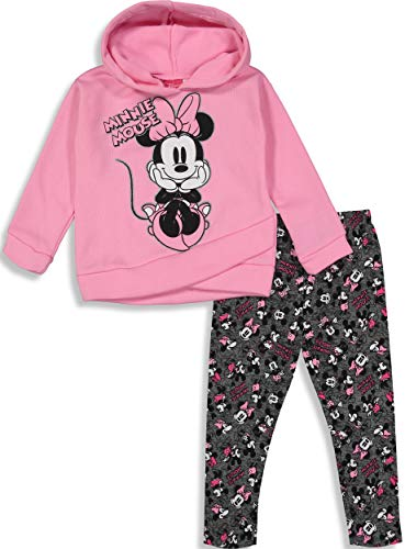 Disney Minnie Mouse Toddler Girls' 2-Piece Fleece Hoodie & Legging Set, Pink 4T