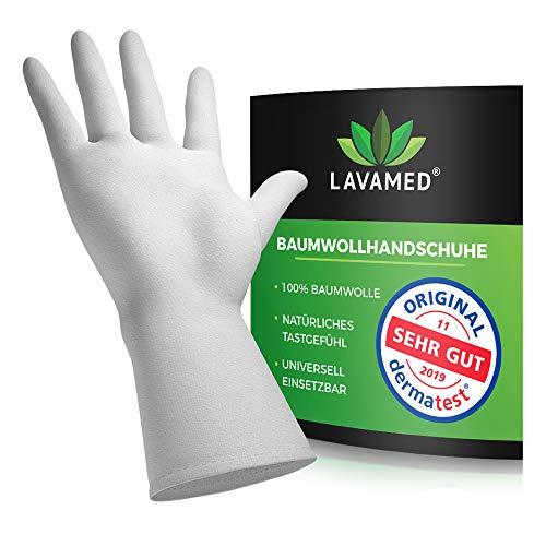 Dermatest: Sehr Gut - Lavamed® Baumwollhandschuhe - extra weiche Baumwoll-Handschuhe aus 100% Baumwolle - Trikothandschuhe - weiße Zwirnhandschuhe - Premium Kosmetikhandschuhe (3 Paar, L)