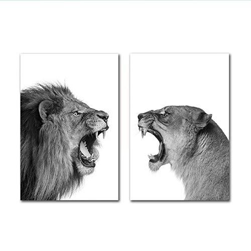 XingChen Animales nórdicos Cartel Blanco y Negro león Tigre Lienzo Pintura Arte Moderno Pared Cuadros para Sala decoración 2x40x60 cm sin Marco