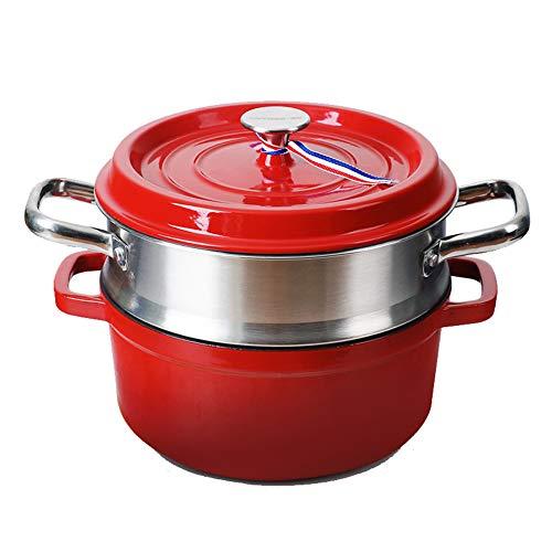 Emaille gietijzer Cooker, 24CM Steamer Koekenpan Wok Soeppot, met Dubbel Handvat en Braadpan met deksel - Rond rood Modern design size A Layer of Steamer