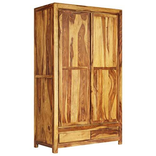ROMELAREU Kleiderschrank Sheesham-Holz Massiv 110x55x190 cm Möbel Schränke Kleiderschränke