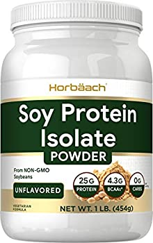 Soy Protein Isolate Powder   1lb   Vegan Vegetarian Non-GMO Gluten Free   Unflavored   25g Protein Supplement   by Horbaach