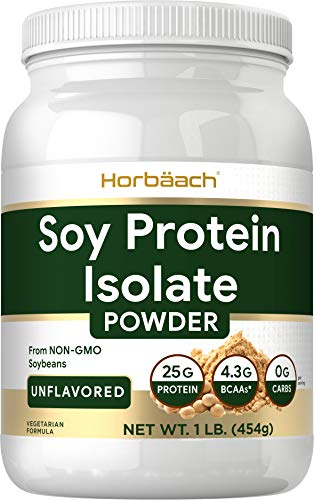 Soy Protein Isolate Powder | 1lb | Vegan, Vegetarian, Non-GMO, Gluten Free | Unflavored | 25g Protein Supplement | by Horbaach