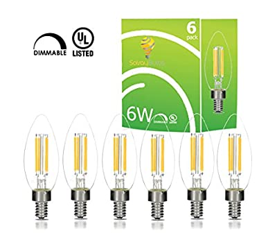 6-Watt LED Filament Candelabra Light Bulbs- Repalces 60 Watt Incandescent - Warm White, E12 Base, 2700K, UL-Listed - By Solray Bulbs