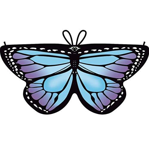 Dragon868 Heißer Cosplay Party Schmetterlings flügel Schal Schals Nymphe Pixie Poncho Karneval Kostüm Zubehör Kind Kinder Jungen Mädchen böhmischen Print 118*47cm (Lila)
