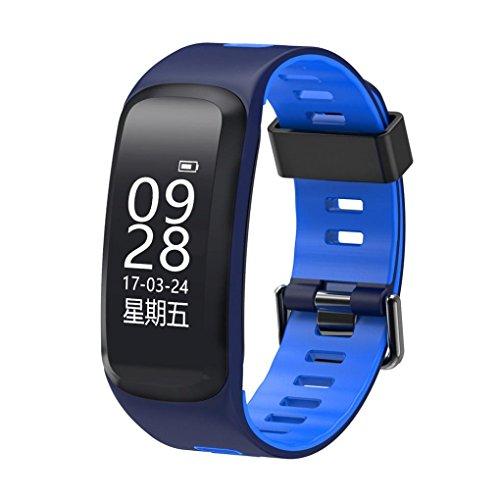 AMH-F4 Smart Armband, F4 Smartband Herzfrequenz Messgerät Mit Schlaf und Sport Tracker Multifunktional Bluetooth 4.0 Wasserdicht IP68 Armband Smartwatch mit 0,96'' OLED Display,SMS Anrufe (Blau)