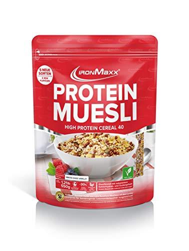IronMaxx Protein Müsli White Chocolate Vanilla / Veganes Fitness Müsli laktosefrei / Eiweiß Müsli mit Cookies & Cream Geschmack / 1 x 2000 g