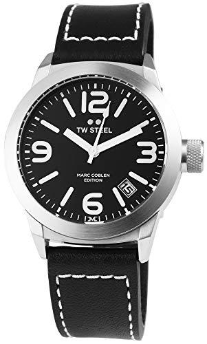 TW Steel Damenuhr Schwarz Silber Analog Datum Edelstahl Echt-Leder Quarz Armbanduhr