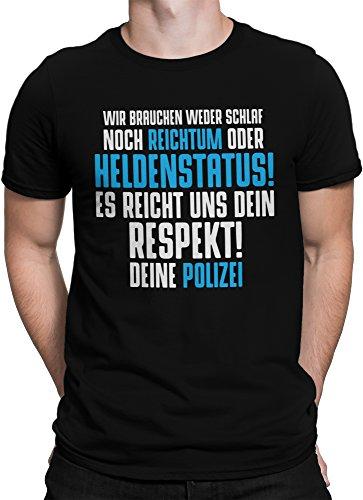 vanVerden Herren T-Shirt Heldenstatus Polizei Police Beruf Shirt Geschenk, Größe:M, Farbe:Schwarz