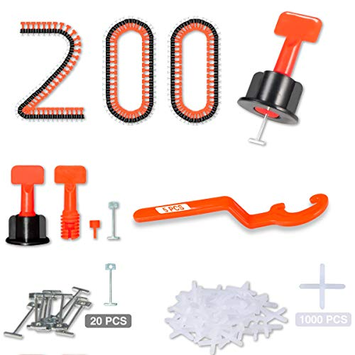 """Tile Leveling System 1/16"""" Kit Reusable, 200pcs Tile Leveler Spacer with 1000pcs 1/12"""" Tile Spacers, 5pcs Wrench and 20pcs 1/16"""" Replaceable Spare Steel Pin (200)"""