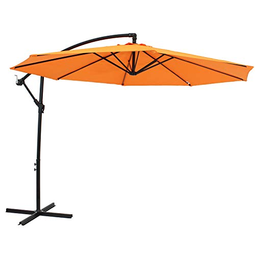 Sunnydaze Outdoor Cantilever Offset Patio Umbrella - Outside Waterproof Polyester Shade Steel Pole - Air Vent, Cross Base and Crank - Deck, Backyard and Pool - 9-Foot - Tangerine