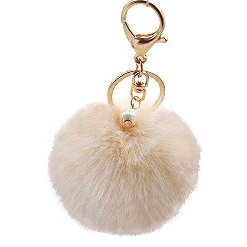 Vococal® 8cm Durchmesser Flauschige Weich Bequem Plüsch Faser Pelzkugel Schlüsselanhänger Keychain Autoschlüssel Taschen Handtaschen Telefon Anhänger, Beige