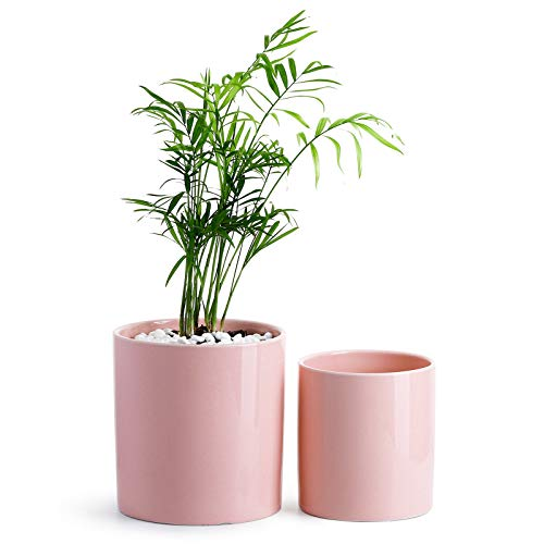 "POTEY Ceramic Planter Flower Plant Pot - 4.9""+6.1"" with Drain Hole Full Depth Cylinder - Minimalism for Indoor planters - Set of 2, Light Pink"