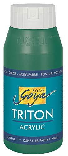 Kreul 17013 - Solo Goya Triton Acrylfarbe, schnell und matt trocknend, 750 ml Flasche, dunkelgrün , Farbe auf Wasserbasis, in Studioqualität, vielseitig einsetzbar, gut deckend und ergiebig