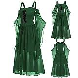 YEBIRAL Damen Übergroßes Mesh Mittelalter Kleid Gothic Maxikleid Schnürkleid mit...