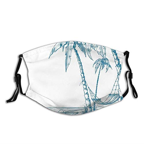 Comfortable Windproof mask,Modern Illustration Of A Tropical Beach With Palm Trees And Hammock Hawaiian Relax,Printed Facial decorations for adult