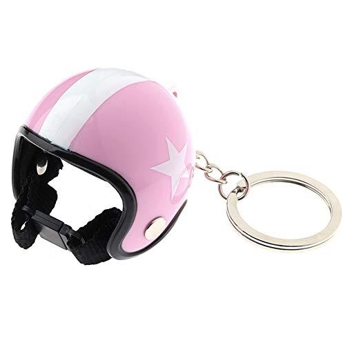 Schlüsselanhänger Motorrad Helme Mini Sicherheit Hut mit Stern Muster Schlüsselanhänger Auto Schlüsselanhänger für Frauen Männer Schmuck Rosa