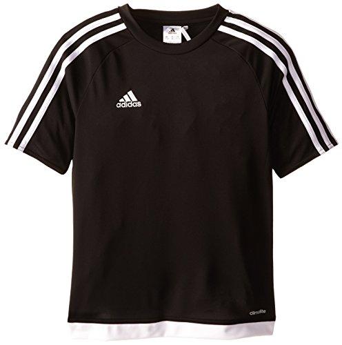 adidas Youth Soccer Estro Jersey, Black/White, Large