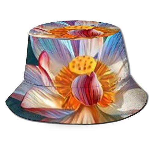 Lotus Flower Art (1) Aesthetic Reversible Summer Sun Bucket Hat Outdoor Cap Travel Beach Fishing Golf Men Women Teen Black