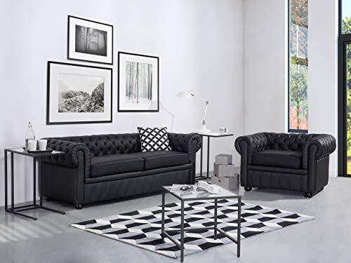 Beliani Klassisches Sofa im englischen Stil Schwarz 3-Sitzer Echtleder Chesterfield