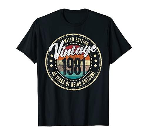 Vintage 1981 40 Years Old 40th Birthday Retro Gift Men Women Camiseta