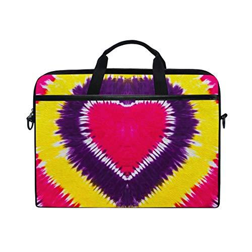 HaJie Laptop Bag Love Heart Tie Dye Computer Case 14-14.5 in Protective Bag Travel Briefcase with Shoulder Strap for Men Women Boy Girls