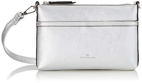 TOM TAILOR Clutch Damen, Silber, Savona, 22x4x16 cm, Abendtasche, elegant Umhängetasche