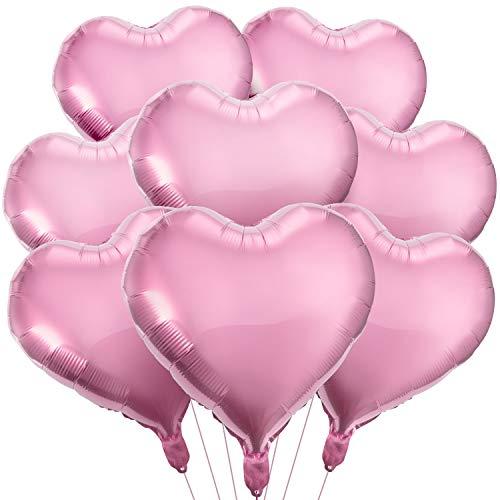 MOOKLIN 20pcs Rosa Herz Folienballons 18 Zoll Helium Herzförmige Luftballons - Dekoration für Hochzeit, Valentinstag, Datierung