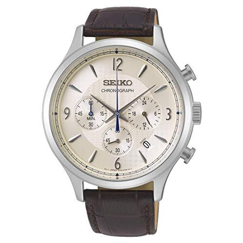 Seiko Herren Chronograph Quarz Uhr mit Leder Armband SSB341P1