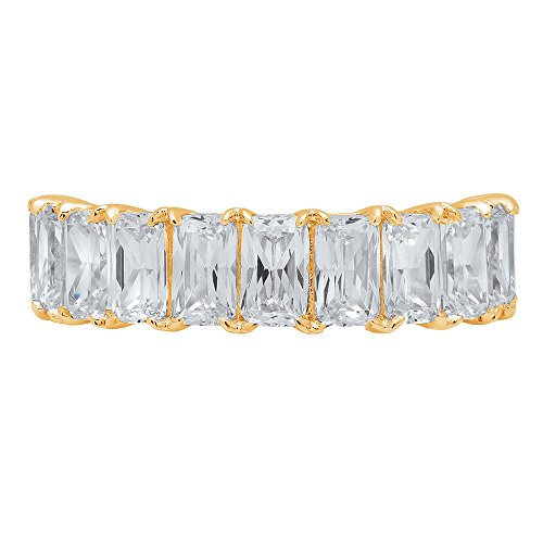 2.6ct Brilliant Emerald Cut Anniversary Promise Engagement Bridal Wedding Infinity Petite Eternity Stacking Band in 14K Solid Yellow Gold for Women, 10