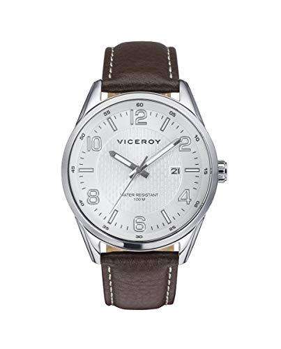Reloj de Hombre Viceroy Magnum Tres Agujas de Acero y Correa de Piel marrón Ref 401013-05