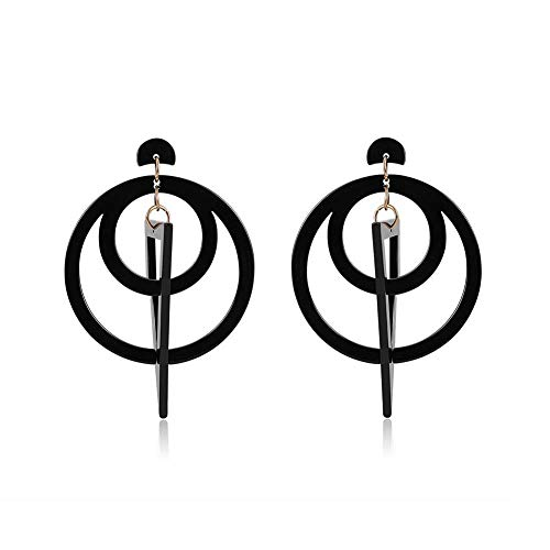 Ohrringe, dreieckig, geometrische Nähte, Ohrringe, Tropfenform, Acryl, Schwarz, Ohrringe, Doppelcreolen