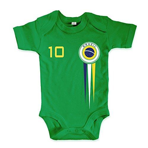 net-shirts Organic Baby Body mit Brazil Brasil Brasilien Trikot Aufdruck Fußball Fan WM EM Strampler - Spielernummer wählbar, Größe 03-06 Monate-Spielernummer 10