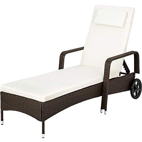 TecTake Rattan day bed sun canopy lounger recliner garden furniture patio terrace (Brown antique)