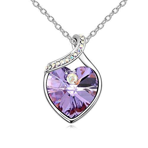 Collar con colgante de corazón con cristales de Swarovski Elements, color lila, 48 cm