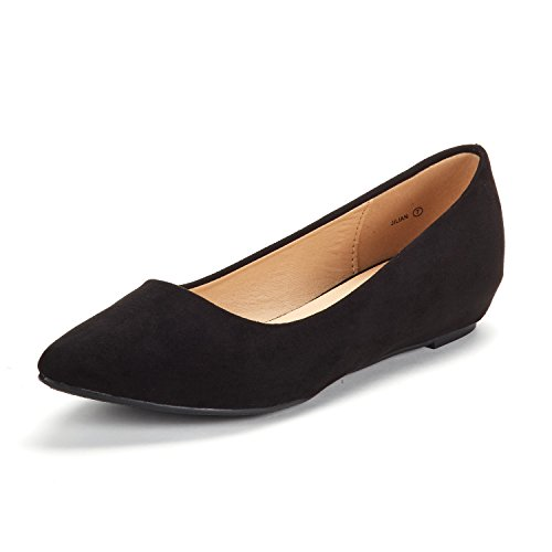DREAM PAIRS Women s Jilian Black Suede Low Wedge Flats Shoes - 9 M US