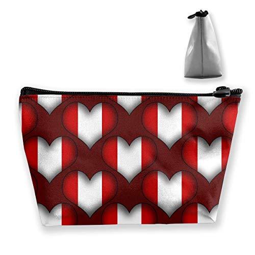 DJNGN Perú Love Women Cosmetic Bags Bolsa portátil Bolsa de Almacenamiento Trapezoidal Bolsa de Viaje con Cremallera