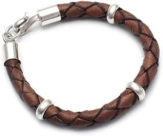 Men's Brown Leather and .925 Sterling Silver Bracelet 'Chankas Warrior', 8.75
