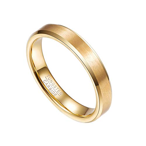 N-A Engaged Gift Rings 4 mm Wide Gold Ring 2 mm Thick Tungsten Carbide Rings for Women Wedding Finger Jewelry Gold 5.5