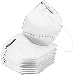 10 Pcs Face Mask 4 Layer Breathable, Comfortable Protective Safety Mask for Dust, Air Pollution with Elastic Earloop and Nose Bridge (White)